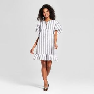 Women's Striped Short Sleeve Lace Up Mini Dress